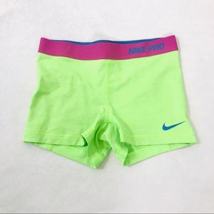 "Nike pro 3"" compression shorts neon green"
